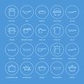 Pot, pan and steamer line icons. Restaurant professional equipment signs. Kitchen utensil - wok, saucepan, eathernware