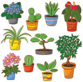 Pot plants and flowers doodle set of Royalty Free Stock Photo