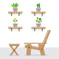 Pot plants on shelves with of wooden garden chair and table side view vector illustration Royalty Free Stock Photography
