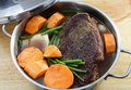 Pot roast with sweet potato Royalty Free Stock Images