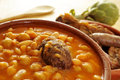 Potaje de judias y garbanzos, a traditional spanish legume stew Royalty Free Stock Photo