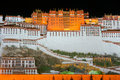The potala palace night scene of in lhasa tibet china Royalty Free Stock Photos