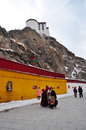 Potala palace with pilgrims the is located in lhasa the capital of the tibetan autonomous region it is decorated beautifully for Stock Images