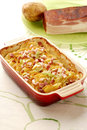 Potato casserole delicious with onion and bacon Royalty Free Stock Photography