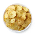Potato chips bowl of isolated on white background Royalty Free Stock Images