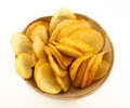 Potato chips bowl side dishes Stock Photos