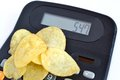 Potato chips and calories Royalty Free Stock Photography