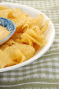 Potato chips close up image of and dip Stock Photography