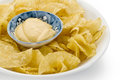 Potato chips and dip studio isolated on white background Stock Images