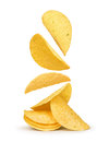 Potato chips falling in the air Royalty Free Stock Photo