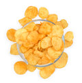 Potato chips in glass bowl Royalty Free Stock Photo