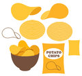 Potato chips isolated objects on white background vector illustration eps Royalty Free Stock Photo