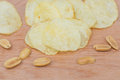 Potato chips and peanut Royalty Free Stock Photo