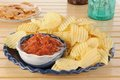 Potato chips and salsa Royalty Free Stock Photo
