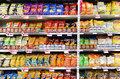 Potato chips and snacks in supermarket Royalty Free Stock Photo