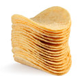 Potato chips on white background Royalty Free Stock Photography