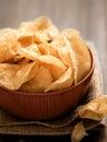 Potato crisps close up of a bowl of Stock Photo