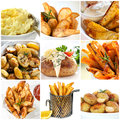 Potato dishes collection of includes mashed roast wedges fries and baked Stock Photo