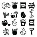 Potato, French fries, crisps, chips  icons set Royalty Free Stock Photo
