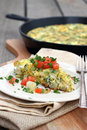 Potato frittata egg and with tomato Royalty Free Stock Photography