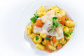 Potato gnocchi with lardo on white Stock Photos
