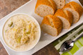 Potato leak soup with slices of bread Royalty Free Stock Photography
