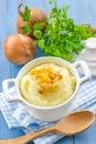 Potato mash with fried onion Royalty Free Stock Photography