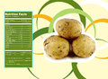 Potato nutrition facts creative design for with label Stock Images