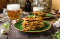 Potato pancakes with garlic and beer Royalty Free Stock Photo