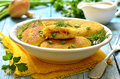 Potato patties with vegetable filling fried Stock Photo