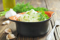 Potato puree with dill in the ceramic pot Stock Photo