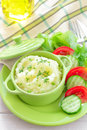 Potato puree with fresh vegetable salad Stock Photos