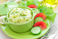 Potato puree with fresh vegetable salad Royalty Free Stock Photography