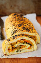 Potato roll with vegetable filling copy space for your text Royalty Free Stock Photo
