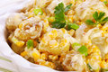 Potato salad with corn sweetcorn and green onion garnished parsley close up Stock Photos