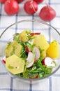 Potato salad home made with radish Stock Photo