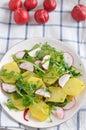 Potato salad home made with radish Stock Photos