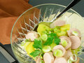 Potato and sausage salad Stock Image