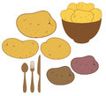 Potato set isolated objects on white background vector illustration eps Royalty Free Stock Photography