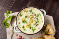 Potato soup with ham and bread Royalty Free Stock Photo