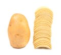 Potato and stack of chips. Royalty Free Stock Photo
