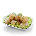 Potatoes with dill boiled on green salad leaves Stock Photos