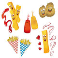 Potatoes french fries and vector set Stock Photo