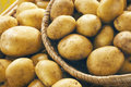 Potatoes fresh on wooden basket Royalty Free Stock Photography