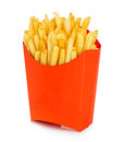 Potatoes fries in a red carton box isolated on a white background. Fast Food. Royalty Free Stock Photo