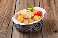 Potatoes with mozzarella cheese Royalty Free Stock Photo
