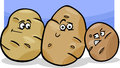 Potatoes vegetable cartoon illustration of funny comic food characters group Royalty Free Stock Photo