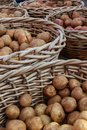 Potatoes In Wicker Baskets Sit On Sale At Farmers Market Royalty Free Stock Photo
