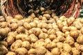 Potatos fresh in basket Royalty Free Stock Photo