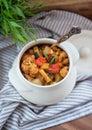 Potenci metro quente de vegetais cozidos e de carne com molho de tomate Foto de Stock